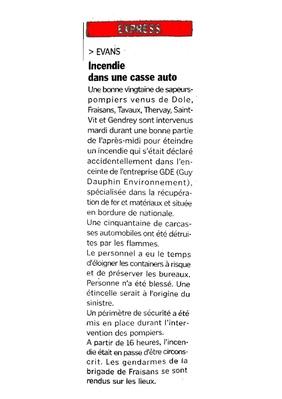 Article paru dans le Progrès, quotidient du 16 juillet 2008