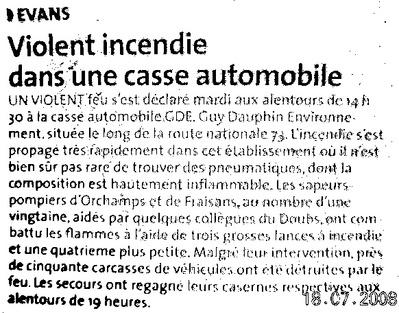 Article paru dans La Voix du Jura, hebdomadaire du 17 juillet 2008